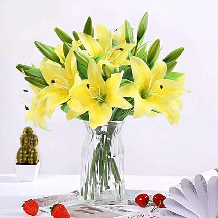 Oriental Charm Lilies Arrangement: Lily Flower Bouquet