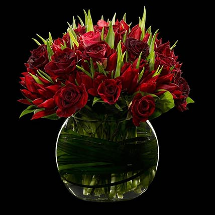 30 Red Roses & Tulips Vase