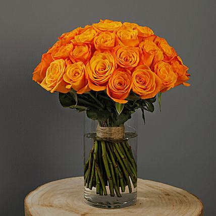 30 Stems Orange Roses Vase