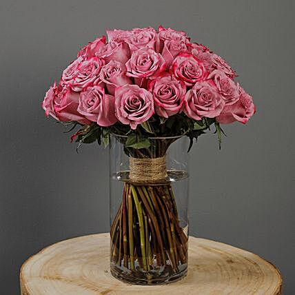 50 Stems Deep Purple Roses Vase