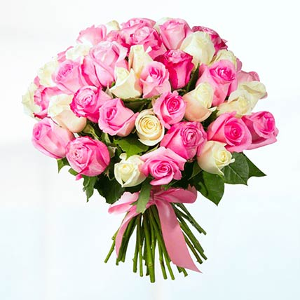 75 Pink & White Roses Bunch