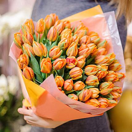 90 Orange Tulips Bouquet