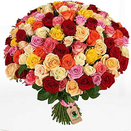 100 Enchanting Mix Roses Bunch