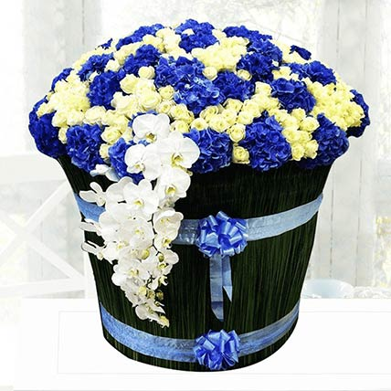 Blue & White Flowers Arrangement- Standard