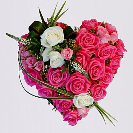 Heart Shaped Arrangement Of Roses- Deluxe