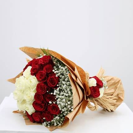 Lovely Red & White Roses Bouquet- Deluxe