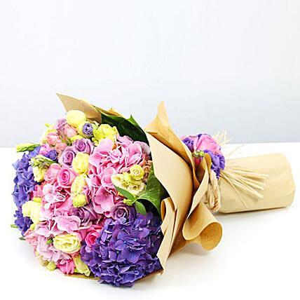 Mix Flowers Bunch With Purple Hydrangeas- Standard