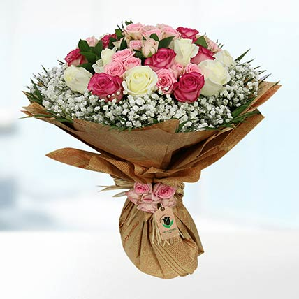 Pink & White Roses Bouquet- Deluxe