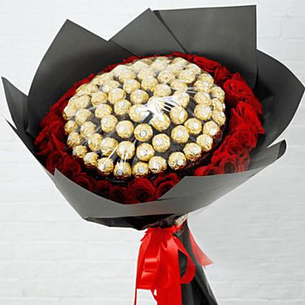Red Roses & Ferrero Rocher Bouquet- Deluxe