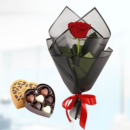Single Red Rose Black Wrap & Godiva Chocolates