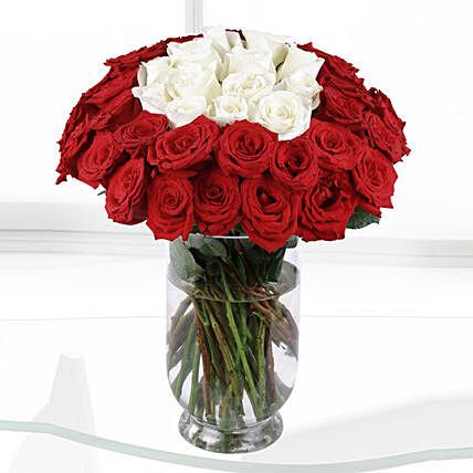 White & Red Roses Vase- Premium