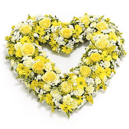 Yellow Flowers Heart Shaped Arrangement