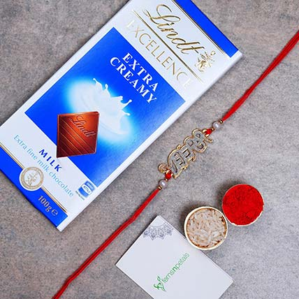beautiful veera english rakhi and lindt chocolate