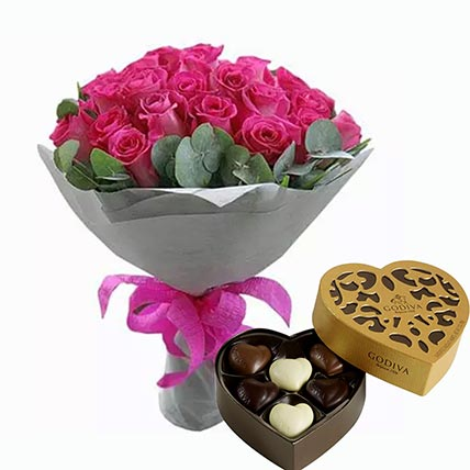 Dark Pink Roses Bunch & Godiva Chocolates 250 gms