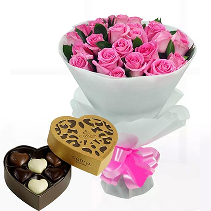 Delicate Pink Roses & Godiva Chocolates 250 gms
