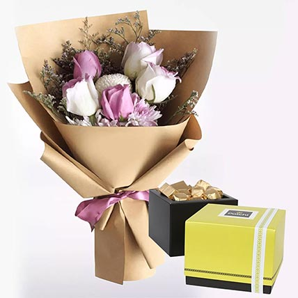 White Purple Flowers & Patchi Chocolates 250 gms