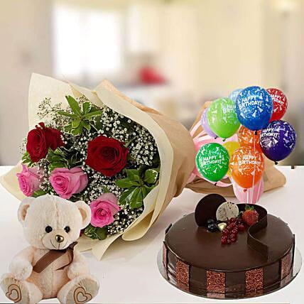 Happy Birthday Cake & Roses Hamper