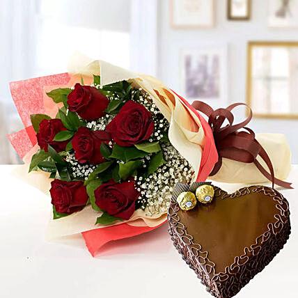 Roses & Chocolate Cake Combo
