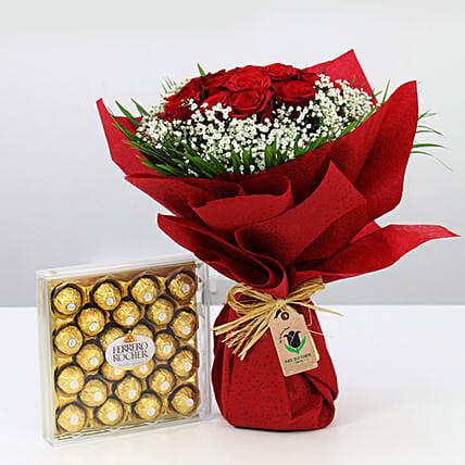 Red Roses Bunch & Ferrero Rocher- Medium