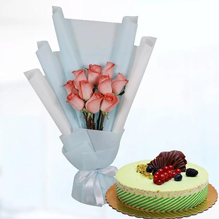 10 Orange Roses & Kifaya Cake 12 Portions