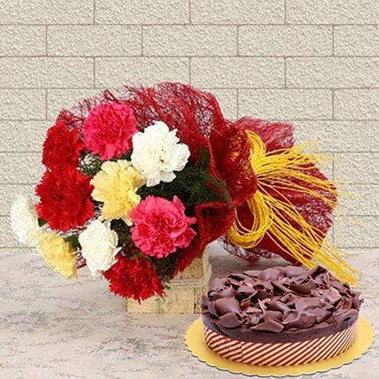 Beautiful Carnations & Choco Mousse Cake 8 Portions