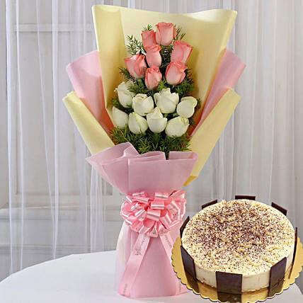 Pink White Roses & Tiramisu Cake 12 Portions