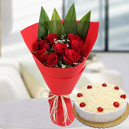 Red Roses Bunch & White Forest Cake 8 Portions