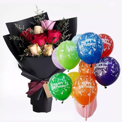 Mix Roses with 10 Latex Balloons