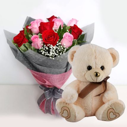 Mix Roses with Teddy Bear- 12 Inches