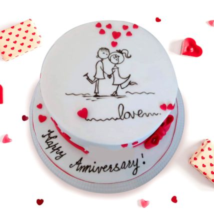 Beautiful Anniversary Vanilla Cake 1.5 Kgs