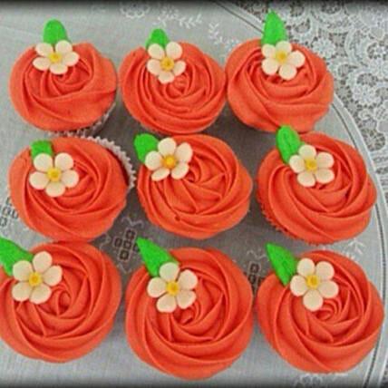 Flower Delight Orange Cup Cakes