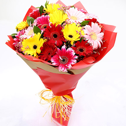 Joyful Mixed Gerbera Bouquet