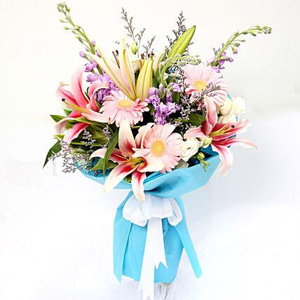 Sweet Gerberas and Lavender Flower Bouquet