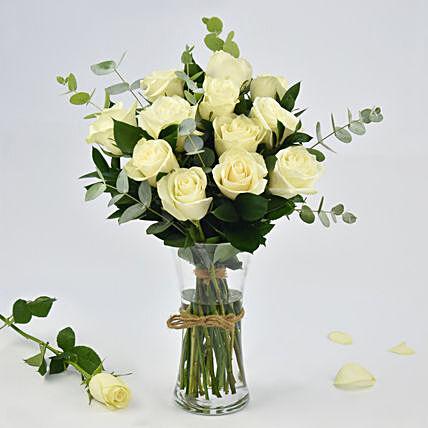 Vase Of Elegant White Roses
