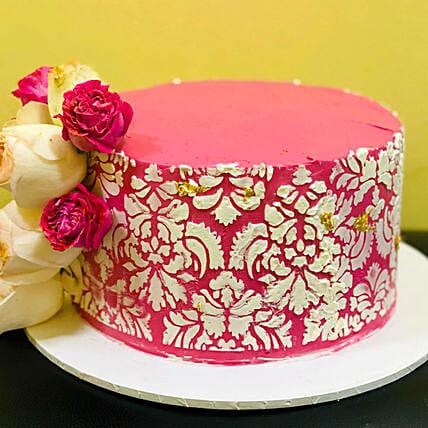 Designer Flower Red Velvet Cake